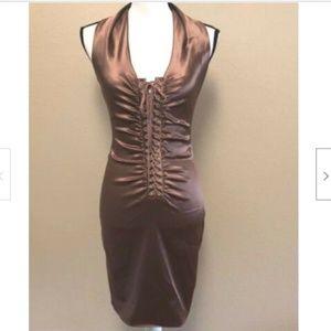 DOLCE & GABBANA  Bronze Satin Corset lace up Dress